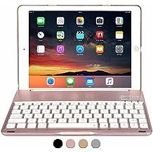 Funda con teclado para Apple iPad 9.7 New 2017, iPad Air 1, COOPER NOTEKEE F86 Carcasa con teclado inalámbrico Bluetooth con retroiluminación LED de 7 colores - (Rose Oro)