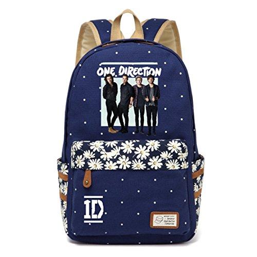 on Leinwand Schultasche Daypack Schultasche Laptop Tasche Handtasche Rucksack Medium Dunkelblau ()