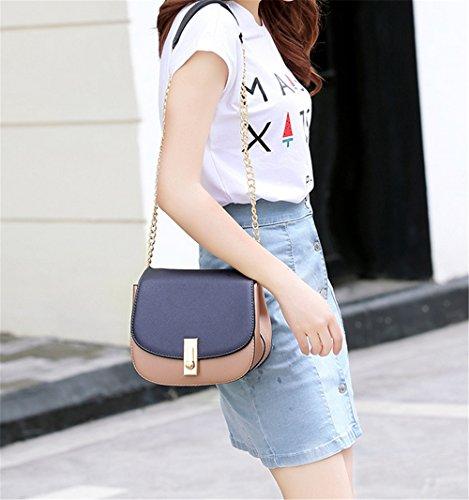 Xinmaoyuan Borse Da Donna In Pelle Modello Litchi Sezione Trasversale Maiale Borsa Da Donna Tracolla Obliquer A Tracolla, Grigio Rosa