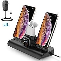 Soporte de Carga para Apple Watch, Estación de Carga Rápida Qi Inalámbrica 4 en 1 Soportes de Carga de para Phone X XS MAX 8 Plus y Teléfonos Qi-Enabled ...