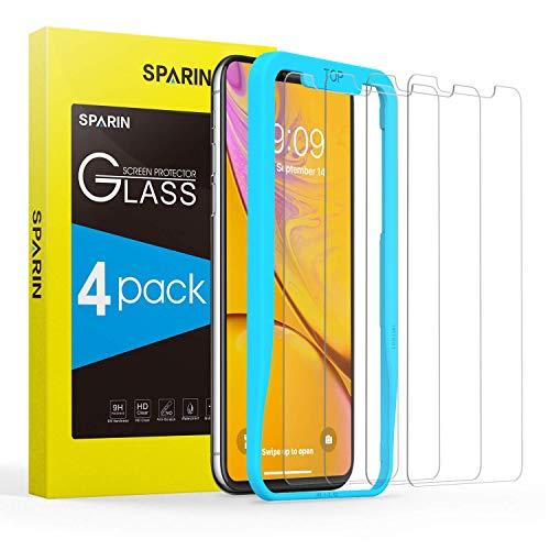 SPARIN [4 Stück Schutzfolie für iPhone XR, mit [9H Härte] [Anti-Kratzen] [Blasenfrei] [2.5D Rand] [Verdeckt Nicht den ganzen Display]