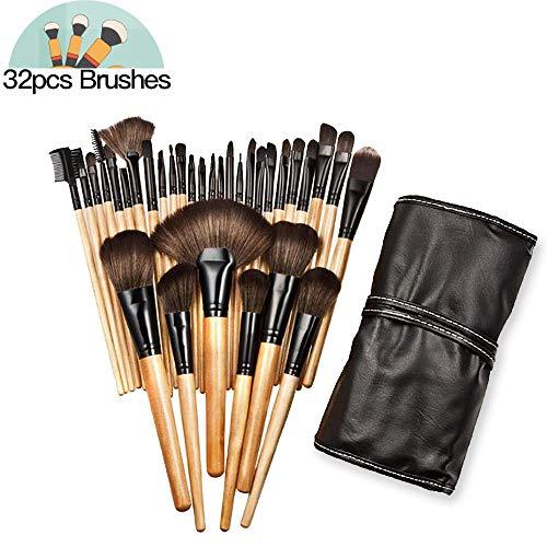 AIDUE Pinceaux Maquillage Professionnel, 32pcs Cosmétique Brush, Crème, Liquides, Poudre, Eyeliner, Cosmétique Fondation Kits de brosse avec Sac
