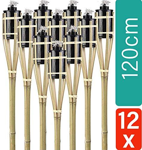 12 Gartenfackeln Bambus mit Docht 120cm - Lange Brenndauer - Öl Feuerfackeln für draußen
