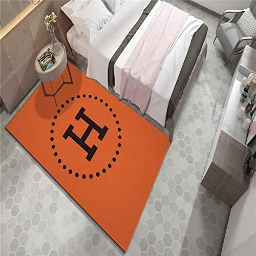 No Alfombra Home Designer Living Room Rug Modern Borderorange Letras inglesas Contemporáneo Durable...