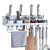 H·Aimee Barre Mural Cuisine Support de Rangement Mural pour Ustensiles de Cuisine en INOX avec Crochets Mobiles Rail de Suspension Barre de Crédence Kitchen - 60cm