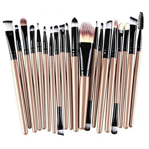 JUNGEN 20Pcs Mini Pinceau de Maquillage Cosmétique Ensembles Outils Noir+Café