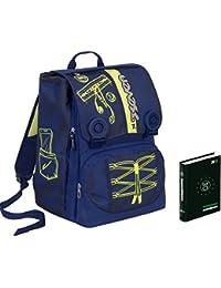 9954dc1caa Zaino scuola SEVEN + DIARIO - COLORFUL BOY - Blu Giallo - estensibile -  SERIGRAFIA FOTOLUMINESCENTE - 28 LT - elementari e medie inserti…