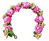 Majik Flowers Hair Accessories Gajra (Veni) For Girls Party Wear Pink And Golden Women And Girls, 15 Gram, Pack Of 1 Amazon