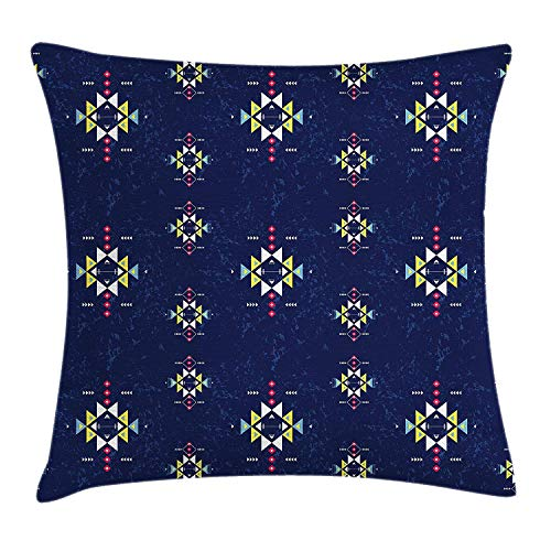 BUZRL Primitive Throw Pillow Cushion Cover, Geometric Ornament with Ethnic Style and Grunge Backdrop Triangles and Arrows, Decorative Square Accent Pillow Case, 18 X 18 inches, Multicolor (Toile Boudoir)