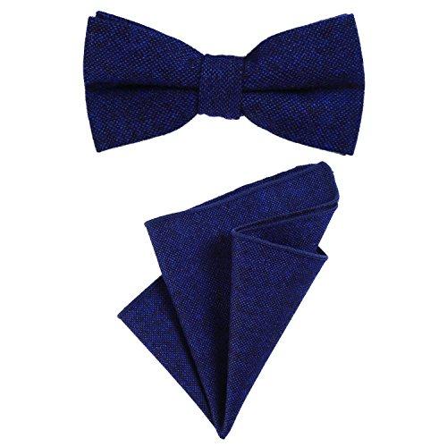 DonDon Herren Fliege 12 x 6 cm gebunden längenverstellbar und Einstecktuch 23 x 23 cm farblich passend aus Baumwolle blau