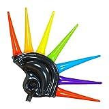 Widmann 01459 Helm aufblasbar mit Bunten Spikes für Erwachsene, 90 cm, Schwarz