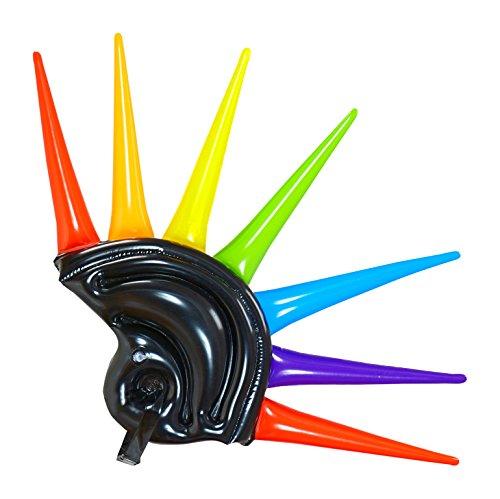 ufblasbar mit bunten Spikes für Erwachsene, 90 cm, schwarz (80's Raver Kostüm)