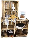 LAUBLUST Vintage Holzkisten 3er Set - Weinkiste Regalboden Quer - 40x30x25cm, Geflammt, Unbenutzt | Deko & Möbelkiste