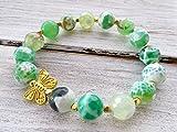 Pulsera elastica de piedras semi preciosas, pulsera de agata verde y mariposa dorada, joyas para mujer, joyas románticas, joyas modernas