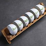 YIYATIANCHENG Tea Set Cup Saucer Salver di Porcellana Cinese del 6 Cupholders Creativo di bambù Holder Pieghevole Kung Fu Tea Set Tea Cup Drenaggio Rack squisita ed Elegante Set da tè