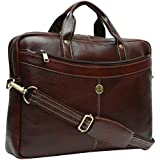 Hammonds Flycatcher 15.6 inch Genuine Leather Latest Design Office Messenger Laptop Organizer Bag (Brown)