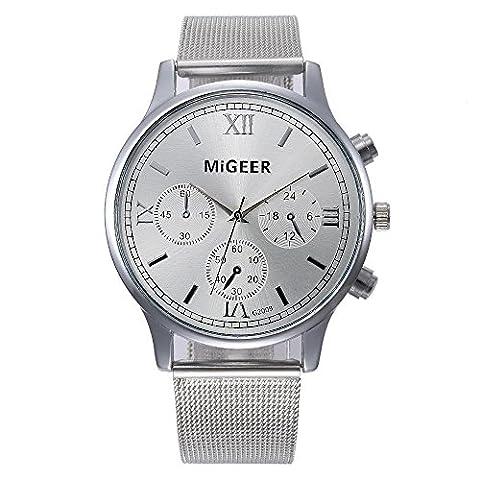 Homme, montres Ihee nouveaux Mode Lovely et classique de haute qualité Femme pour homme montre bracelet en acier Sangle à quartz décontracté montres, femme Homme, Silver