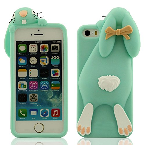 Douce Soft Prime Silicone Gel Protective Case Coque Housse Étui de Protection pour Apple iPhone SE iPhone 5 iPhone 5C iPhone 5S iPhone 5G - Style 1 - Rose vif, Belle Mignon Peu Lapin Conception Série  Cyan