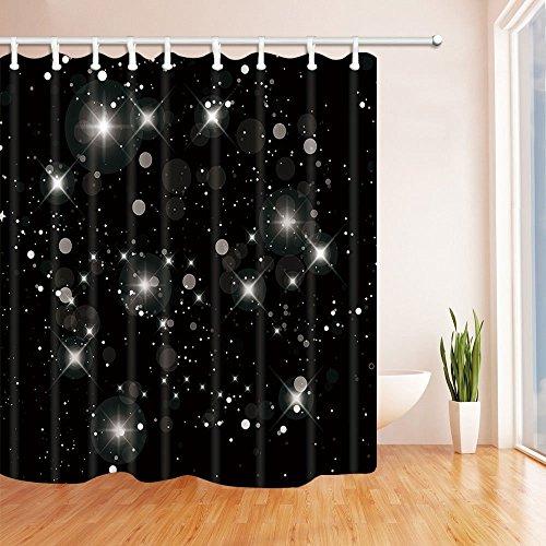 Rrfwq Beleuchtung Star in Schwarz Polyester-Duschvorhang Schimmelresistent-Badezimmer Dekoration Bad Vorhänge Haken im Lieferumfang Enthalten 180x 180cm (Duschvorhang Wars Stars)