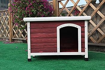 Petsfit Maison en Bois pour Chiens, Abri d?Extérieur pour Chien, Rouge, 78cm x 53cm x 58cm (petit)