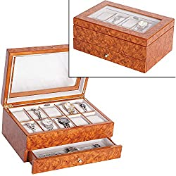 Mele & Co. Peyton Wooden 10 Watch Box in Burlwood Oak Finish
