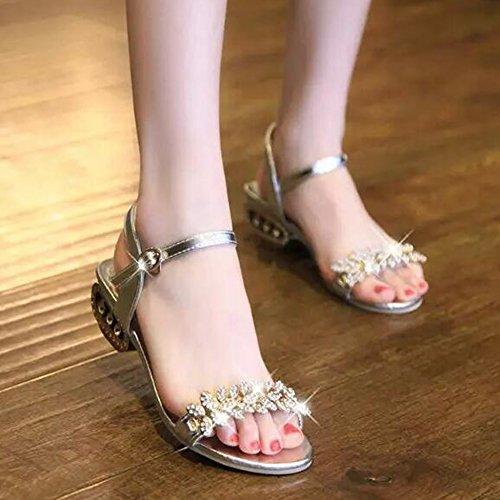 SUNAVY Damen Böhmen Bling Strass Sandalen mit Kreativ Metall Heel Peep Toe Sommer Strand Schuhe(EU34--EU40) Silber