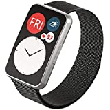 Dado Replacement Milanese Band compatible with Huawei Fit Watch, stainless steel strap (Black)