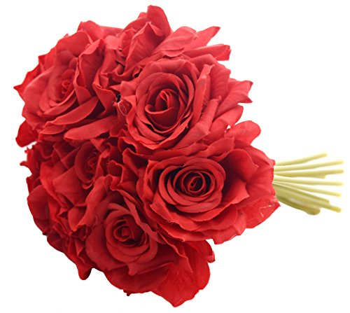 Fourwalls Artificial Rose Bouquet (26 cm, Set of 10 Flower Stems, Red)