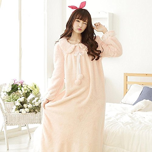 DMMSS Femmes, ouatine de corail peignoirs Robe pyjama chaud rembourr¨¦ manches longues chemise de nuit Pink