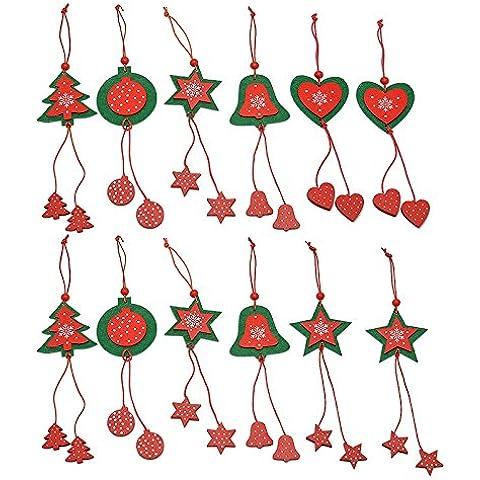 Veewon Árbol de Navidad ornamento colgante Decoraciones de Navidad colgante de Belces del árbol de Estrellas estilo, 12pcs Set