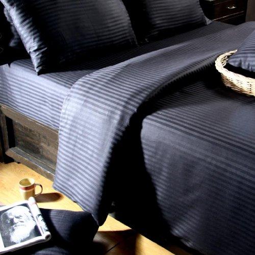 Homescapes 2 teilige Damast Bettwäsche 155x220 cm schwarz 100% ägyptische Baumwolle Fadendichte 330 (Besten Bettwäsche Aus Ägyptischer Baumwolle)
