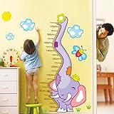 YESURPRISE Vinilo Adhesivo Infantil Pegatina Pared Para Dormitorio Sala Armario Elefante Púrpura Medidor...