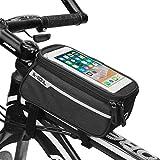Vigorea Fahrradtasche Rahmentasche Fahrradtasche Handy Fahrrad Handyhalterung Geeignet für Smartphones Innerhalb von 6 Zoll (Schwarz)