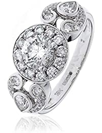 1.50CTS Certified G/VS2 centre 0.72CT Brilliant Cut Diamond Ring with Centre Stone With Pear Shape Shoulders in 18k White Gold