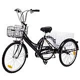Ridgeyard triciclo adulto 24 '6 velocidades bicicleta 3 ruedas adulto con Cesta de la compra(negro-2)