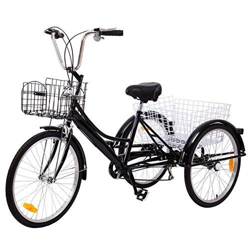 elektroroller senioren Ridgeyard Dreirad Für Erwachsene 24 Zoll 6 Geschwindigkeit 3 Rad Fahrrad Dreirad Pedal mit Warenkorb(Schwarz)