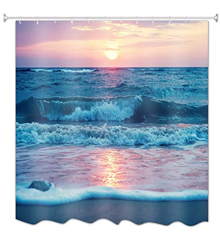änge Strand Sonnenuntergang Himmel Blau Ozean Meer Natur Landschaft Bild Druck Wasserdicht Mouldproof Stoff Polyetser Nicht PVC Dusche Vorhang Für Bad Zubehör 150X180 cm / 60