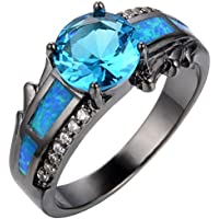 SaySure 10KT White Gold Filled Aquamarine Wedding & Engagement Ring