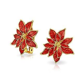 La Flor Pascua En Forma Flor Navideña Esmalte Rojo Pendientes Clip No Perforados Oídos Latón Chapado En Oro Rosa 1 Pulg.