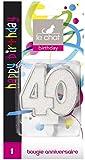 Le Chat 1196340  Bougie NOMBRE anniversaire blanc pailleté avec tour argent - 40 ans