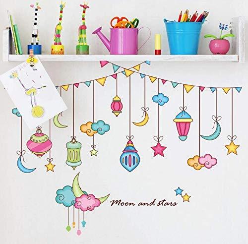 3D Aufkleberschlafzimmer Wohnzimmer Sofa Hintergrund Wandaufkleber Kinderzimmer Farbe Streifen Dekoration Sterne Mond Cartoon 91 * 71 Cm