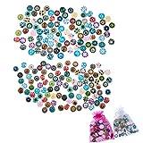 JZK 12mm + 14mm, 180 x Rotondi Bottoni cabochon Vetro Stampato colorato con Retro Piatto per Orecchini Fai da Te Anelli collane Gioielli Bijoux Bambina Decorazioni Mestieri lavoretti di bricolage