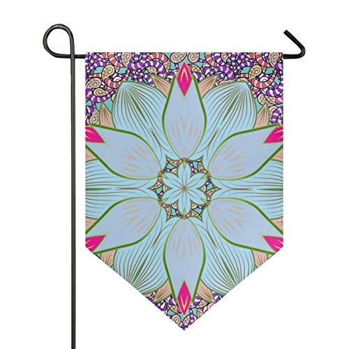 DEZIRO Bandera de jardín Abstracta Hippie Mandala Vertical Doble Cara decoración de Patio Colorido diseño para Todas Las Estaciones y días Festivos, poliéster, 1, 12x18.5in