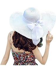 TININNA Moda Sombrero,Verano mujer Hawaii turismo ala gran sombrero rafia paja sol sombrero playa plegable sombrero con bowknot.(Blanco)