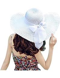 TININNA Fashion Femme Filles Wide Brim Floppy Chapeau Voyage Chapeau De Soleil Capeline Chapeau Paille à Bord Large Panama Boucle