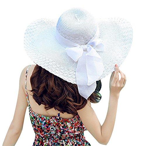 TININNA Fashion Femme Filles Wide Brim Floppy Chapeau Voyage Chapeau De Soleil Capeline Chapeau Paille à Bord Large Panama Boucle Blanc