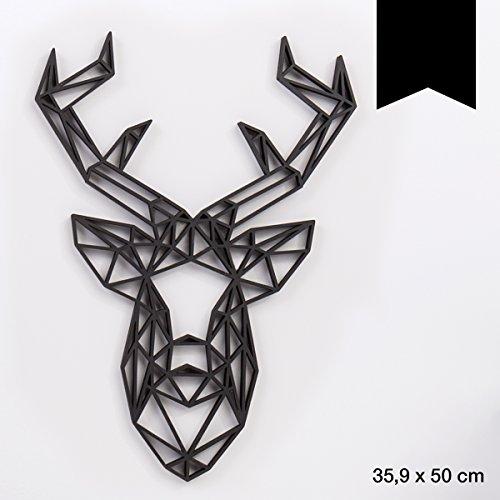 KLEINLAUT 3D-Origamis aus Holz - Wähle Ein Motiv & Farbe - Hirschkopf - 35,9 x 50 cm (XL) - Schwarz -