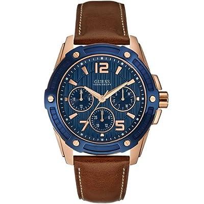 Guess W0600G3 - Reloj con correa de piel, para hombre, color azul / marrón