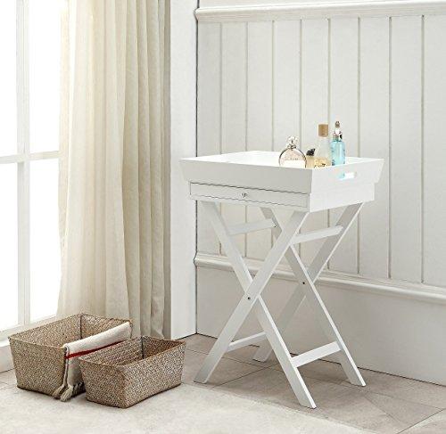 Table d'appoint plateau amovible sur pieds tréteaux coul. Blanc