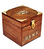 Indian Wooden Safe Coin Bank Money Saving Box - Banks for Kids &Adults - Wood Vacation Piggy Bank